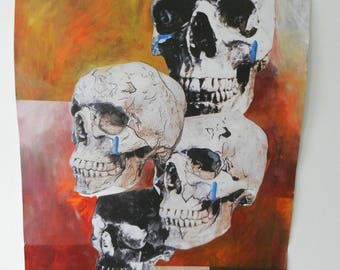 SKULL CLUSTER Original Art Work and Abstract Painting, Surreal Wall Art Picture