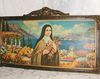 "St. Therese of Lisieux ""The Little Flower"" LARGE 1920s Framed Lithograph Print on Tin 32 1/2"" Wide x 19 1/2"" Long"
