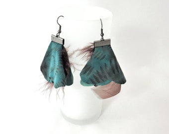 Flowing Brown and turquoise and Brown feather earrings