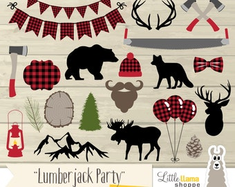 Lumberjack Party Clip Art, Lumberjack Plaid Clipart, Woodland Clipart, Red Flannel Clipart, Lumberjack Birthday, Commercial Use