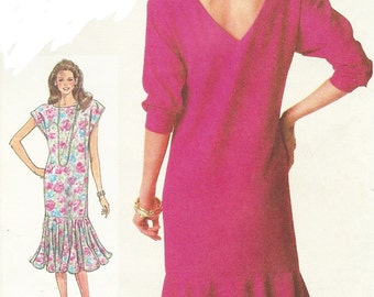 80s Womens Pullover Dress Back V Neckline & Flounce Simplicity Sewing Pattern 7845 Size 10 12 14 Bust 32 1/2 to 36 UnCut 80s does 20s