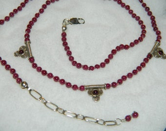 Garnet Gemstone Necklace Sterling Silver Knotted on Silk Cord