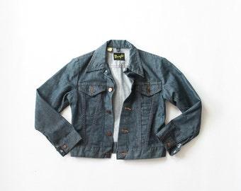 Wrangler Denim Jacket 70s Tiny Fit Jean Jacket 1960s Dark Denim 1970s Shrunken Perfect Fit Jean Jacket 60s Contrast Stitching XS Extra Small