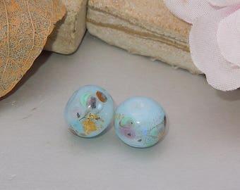 Handmade Lampwork Blue Glass Round Bead Pair SRA DIY-Bastets Beads- Blue Opal Confetti