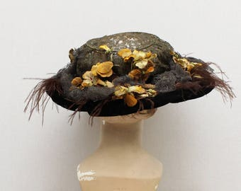 Edwardian Ostrich Feather Tilt Hat - Vintage 1910s Floral Lace Wide Brim Hat