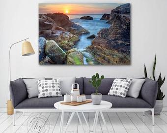Large Ocean Wall Decor, Large Seascape Canvas Art, Rhode Island Coastal Sunrise Photography, Narragansett RI Photo, Oversized Beach Artwork