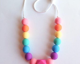 Toddler Silicone Necklace, Rainbow Silicone Teething Beads, Little Girls Hexagon Silicone Beads, Silicone Bead Teething Necklace