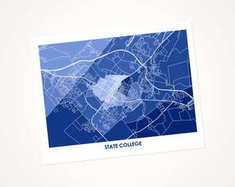 State College Map Print.  Color Options and Size Options Available.  Perfect Art Poster for your Penn State University Nittany Lion.
