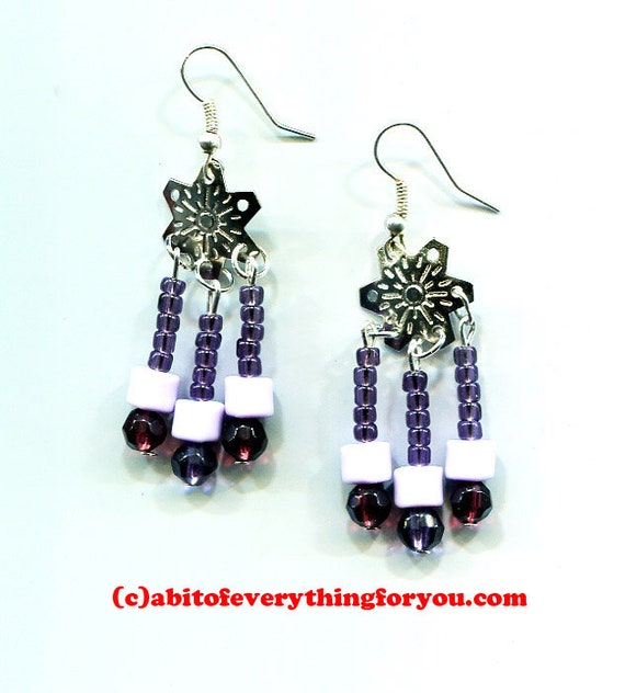 purple snowflake charms chandelier earrings bead drop long dangles glass plastic beaded handmade jewelry