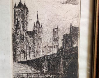 ANTIQUE Framed Etching Gand St Nicolas le Beffroi St Bavon Cathedral Belgium