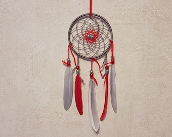 Dream catcher, handmade dreamcatcher, gray and red, wall decor / real 30 cm