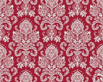 Red Damask Fabric, Riley Blake Postcards For Santa, C4752 Damask Red, My Mind's Eye, Red Cotton Damask Fabric, Red Damask Quilt Fabric