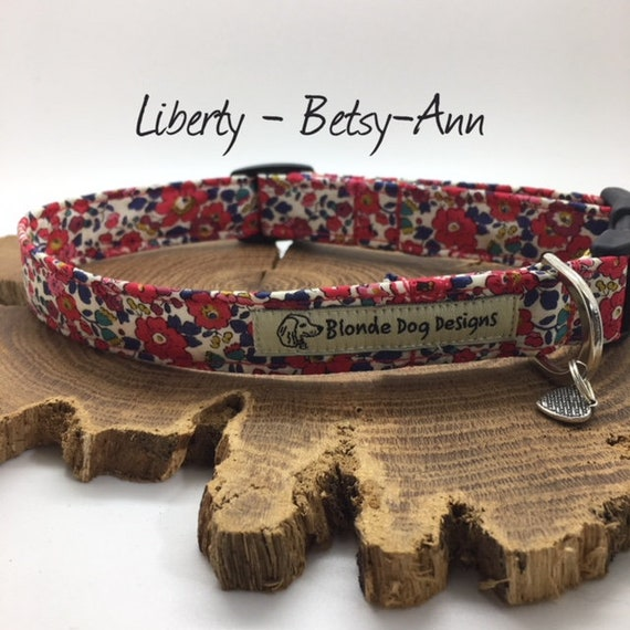 Liberty Dog Collar, or, Liberty Dog Lead, Betsy Ann Red, Floral Dog Collar, Floral Dog Lead, Luxury Dog Collar