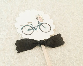 Bicycle Cupcake Toppers-Bike Cupcake Toppers Food Labels-Candy Buffet Labels Picks-Set of 12