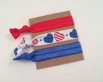 Red White and Blue Hair Ties - Patriotic Hair Ties - American Hair Ties - Fourth of July Hair Ties - Elastic Hair Tie - Order more to SAVE