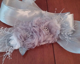 Silver Flower and Feather Bridal Belt