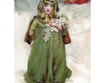Christmas Card - Girl with Roses in the Snow - Holiday Notecard