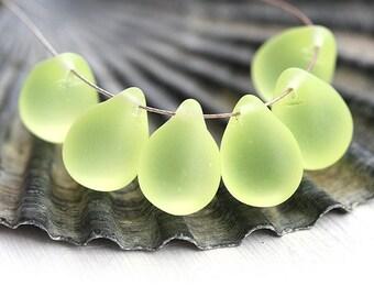 10x14mm Light Yellow Teardrop beads, Matte Lemon Yellow czech glass drops, Briolettes - 6Pc - 0667
