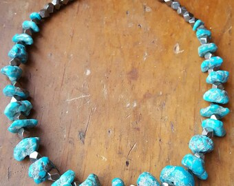 Morenci Turquoise Nugget and Pyrite Necklace, Karen Hill Tribe, Southwest Turquoise, Arizona Turquoise, Turquoise Jewelry, Natural Turquoise