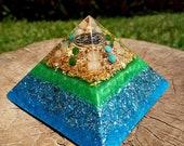 EMOTIONAL HEALING Orgone Pyramid – Rose Quartz, Turquoise, Aventurine – Release the Past, Heal Negative Patterns and Habits - Spiritual Gift