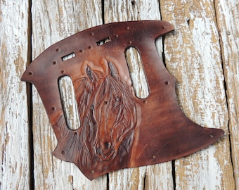 Leather Pick Guard / Fender Mustang Pickguard / Carved Leather Pickguard / Pickguard Fender