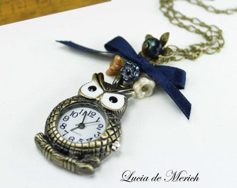 Owl Pocket Watch Necklace,Vintage owl watch, Cute owl necklace with blue agate bead -Cyber monday - Black friday.