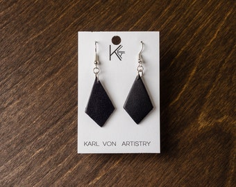 "Leather Earrings - Black Diamond  (1 1/8"" x 3/4"") Gift for her, wedding present, birthday gift, diamond earrings"