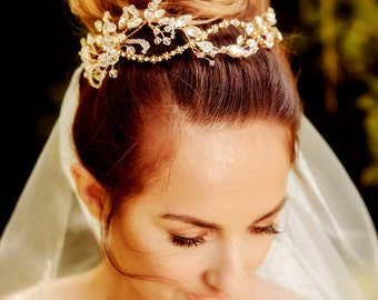 Bridal floral crown CLARICE , gold, hair vine, crystal, flowers, made to order