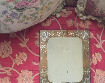 French Country Venetian Etching Floral Mirror Picture Frame