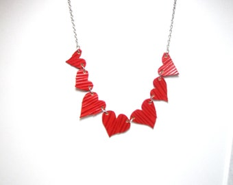 Heart  Necklace Red Leather