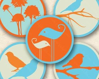 Tangerine Sky Modern Birds and Swirls in 1 inch circles -- piddix digital collage sheet no. 540