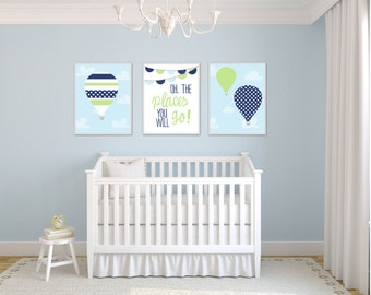 Baby Boy Nursery Wall Art. Hot Air Balloon Wall Art Prints. Suits Blue and Green Nursery Decor and Bedroom Decor-H891