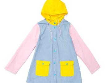 Pastels Colorblock Plastic Raincoat Mac Size Large (Ready to ship)