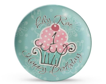 Personalized Plate, Cupcake Birthday Plate, Personalized Childrens Cake Smash Melamine Dinner Plate