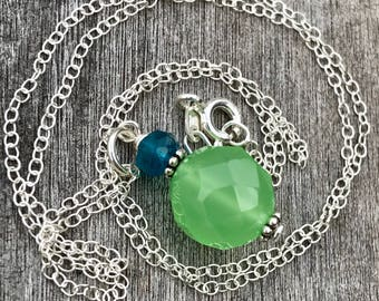 Minimalist Gemstone Drop - Oxidized Sterling Silver with Green Chalcedony and Apatite, Gemstone Pendant, Mint Green Necklace