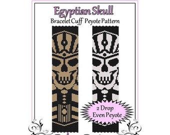Bead Pattern Peyote(Bracelet Cuff)-Egyptian Skull