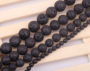 25 natural 6 mm lava stone beads