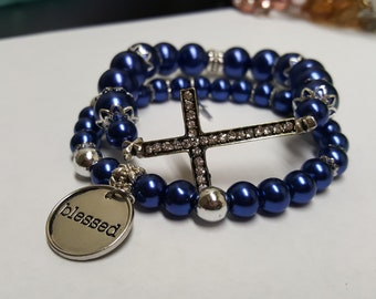 """Midnight Blue Pearl """"Blessed"""" Bracelet Stack"""