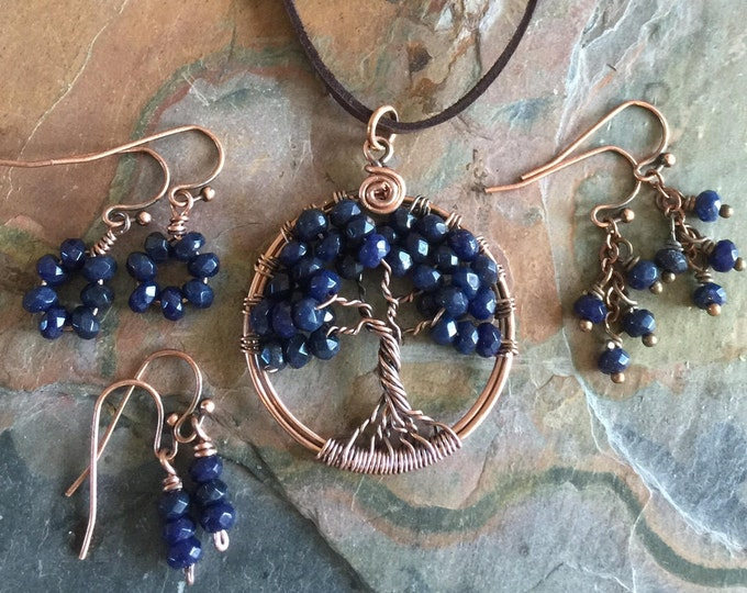 Sapphire Necklace,Sapphire Tree of Life Necklace Antiqued Copper,Sapphire Earrings,September Birthstone Necklace,Wire Wrapped Sapphire
