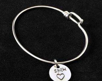 Swim Heart Charm Bicycle Spoke Bracelet