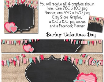 DIY Blank Etsy and Facebook Banner Set - Burlap Valentines Day Love Hearts - Customize for your Store