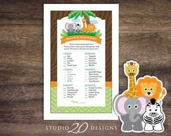 Instant Download Safari What's In Your Purse Baby Shower Game, Printable Jungle Purse Game, Lion Elephant Zebra Giraffe Baby Shower 57A