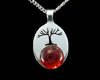 Cremation Pendant, Memorial Necklace, Tree of Life, Pet Ashes, Sterling Silver, Red Glass, Boro Lampwork, Hand Blown Glass Necklace