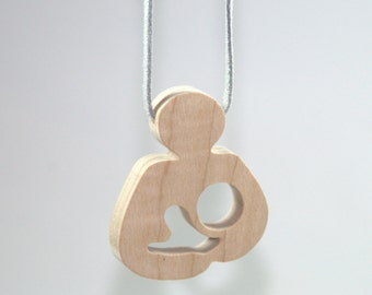 Breastfeeding Wooden Teether Necklace - Natural Le Leche Style