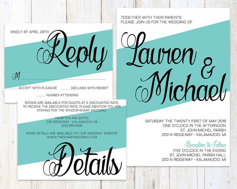 Wedding Invitation Suite Striped Wedding Invitation Teal