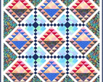 Dusk at Sea ocean paisley compass triangles half square horizon tie die quilt fabrics PDF downloadable digital pattern blue red navy