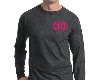Monogrammed Long Sleeve Men Heavy Cotton T-Shirt Embroidered Monogram Fruit of the Loom