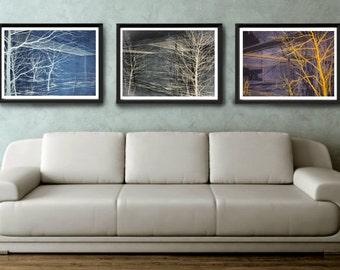 Set of 3, Tree Prints, Modern Decor, Eclectic Home Decor, Nature Art, Tree Art, Indie, Living Room Decor, Wall Art, Christmas Original Gift