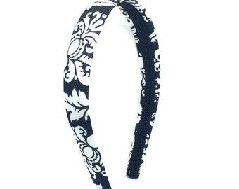 Damask Headband - Preppy - Black and White Damask Headband - Big Girl Headband, Teen Headband, Adult Headband