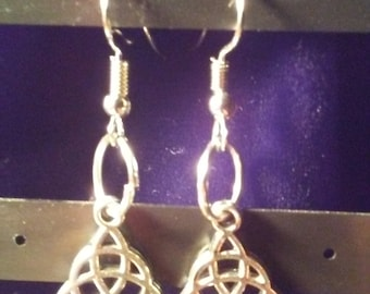 celtic triangle drop earrings